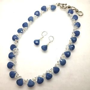 Handmade Natural Blue Onyx Necklace Earrings Set